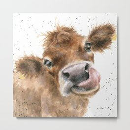 Face baby cattle Metal Print