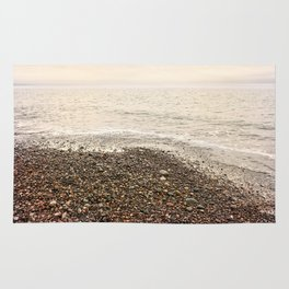 Dungeness Shoreline, Pebble Beach, Washington Seascape, Juan de Fuca, Coastal Photography Rug
