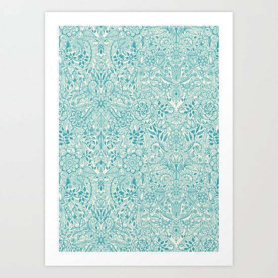 Detailed Floral Pattern in Teal and Cream Art Print