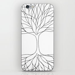 black and white minimalist tree of life line drawing iPhone Skin