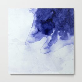 Inky Spill Deep Blue Ink on Washed White Metal Print