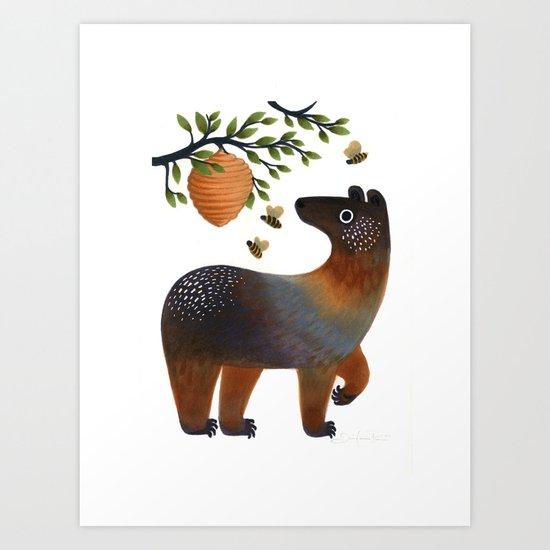 Bear With Bee Art Print