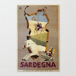 Visit Sardinia vintage Italian travel ad Canvas Print