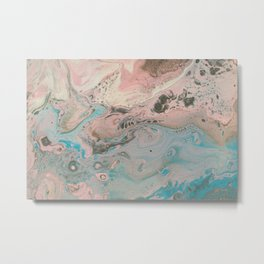 Fluid Art Acrylic Painting, Pour 17, Pastel Pink, Blue, Gray & White Blended Color Metal Print