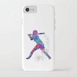 Girl Baseball Softball Batter Watercolor Silhouette iPhone Case