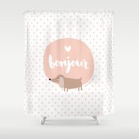 bonjour Shower Curtains featuring Bonjour! by Juice for Breakfast