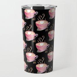 Valentine's Day coffee art on black Travel Mug