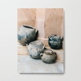 Pottery in earth tones | Ourika Marrakech Morocco | Still life photography Metal Print