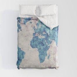 world map 52 blue Comforters