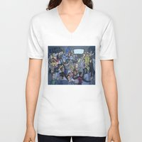 tv V-neck T-shirts featuring TV by Anna Rettberg