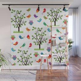 summer birds pattern Wall Mural