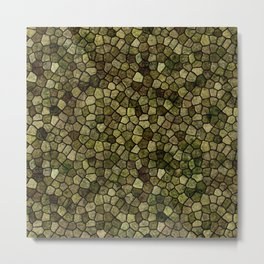 Seaweed and Juniper Cobbled Patchwork Terrazo Pattern Metal Print