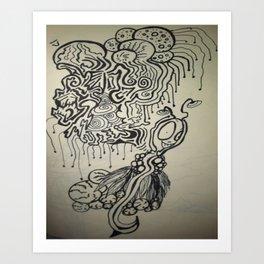 Alien Ink Doodle Art Print