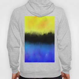 Separation - Abstract in black, blue and yellow Hoody