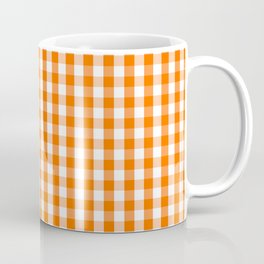 Classic Pumpkin Orange and White Gingham Check Pattern Coffee Mug