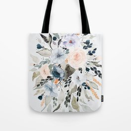 Loose Blue and Peach Floral Watercolor Bouquet  Tote Bag