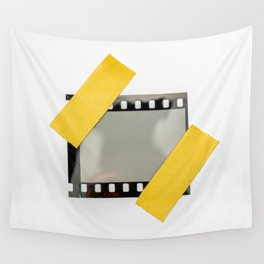 blank or empty 35mm dia film frame fixed by two yellow adhesive strips on white background, cool photo placeholder.  Wall Tapestry
