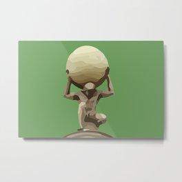 Man with Big Ball Illustration green Metal Print