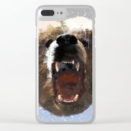 Grizzly Bear Face - Watercolor Clear iPhone Case