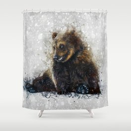 Brown Bear In The Snow Shower Curtain