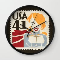 girl power Wall Clocks featuring Power Girl by Teighe Armour Thorsen