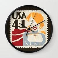 superheros Wall Clocks featuring Power Girl by Teighe Armour Thorsen
