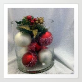 Red and White Ornaments Art Print