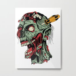 Killing zombies - tattoo, zombie, guns, apocalypse, halloween, horror, monsters, dead, Metal Print