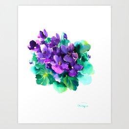Violet Flowers  Sainpaulia African Violets violet purple yellow floral decor Art Print