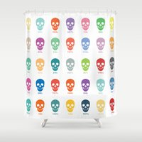 pantone Shower Curtains featuring Pantone Skulls by James Northcote