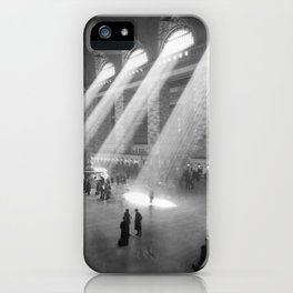 New York Grand Central Train Station Black and White iPhone Case
