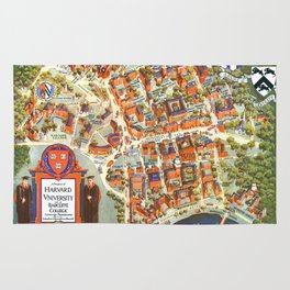 HARVARD University map MASSACHUSETTS Rug