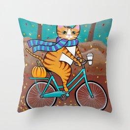 Autumn Fat Cat Bicycle Ride Throw Pillow
