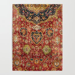 Indian Boho II // 16th Century Distressed Red Green Blue Flowery Colorful Ornate Rug Pattern Poster