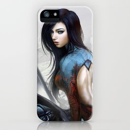 Hot girl on motorcycle iPhone Case