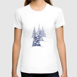 Snowy Winter Evergreens—Blue T-shirt