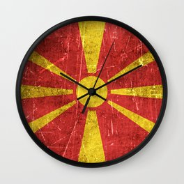 Vintage Aged and Scratched Macedonian Flag Wall Clock