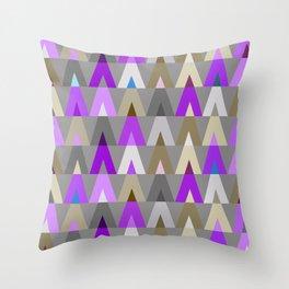 Geometric Triangles | purple grey Throw Pillow