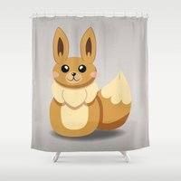 eevee Shower Curtains featuring Evolution Bobbles - Eevee by creativeesc
