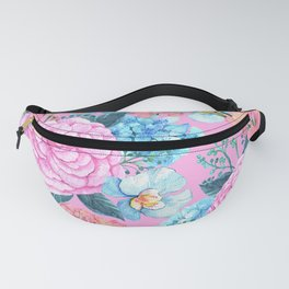 Floral Pattern In Pink, Peach And Robin Egg Blue Fanny Pack