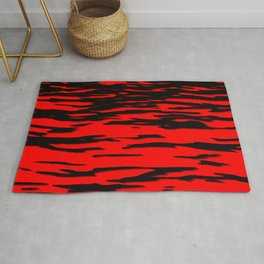 Black red abstract wave Rug