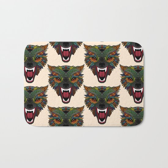 wolf fight flight ecru Bath Mat