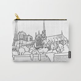 Notre Dame and Eiffel Tower travel scene Carry-All Pouch
