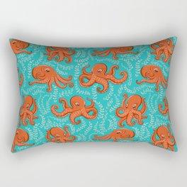 Fun orange octopus on turquoise background. Rectangular Pillow