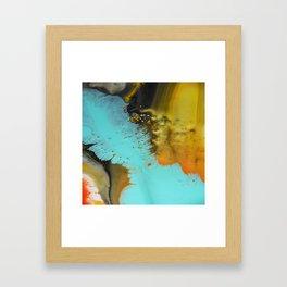 Aqua and orange pillow Framed Art Print