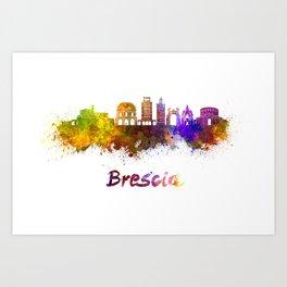 Brescia skyline in watercolor Art Print