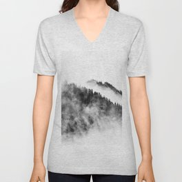 Minimalist Foggy Black And White Forest Mountain Ominous Minimalist Photo Unisex V-Neck