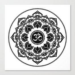 Black and White Mandala | Flower Mandhala Canvas Print