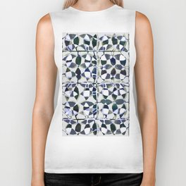 abstract tile in shade of blues Biker Tank