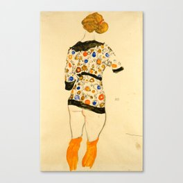 """Egon Schiele """"Standing Woman in a Patterned Blouse"""" Canvas Print"""